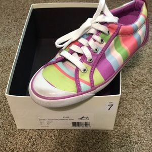 Coach lace up striped tennis shoes size 7